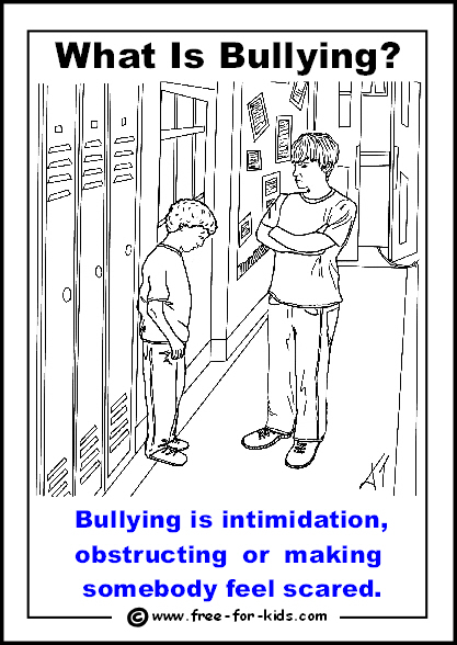 Preview of free printable anti-bullying colouring page - bullying is intimidation