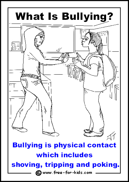 Preview of free printable anti-bullying colouring page - physical contact