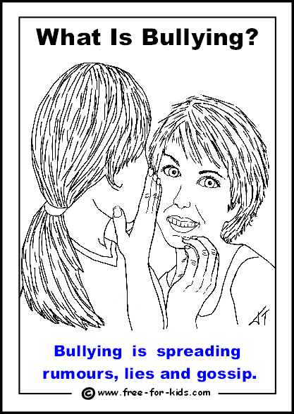 Preview of free printable anti-bullying colouring page - spreading rumours
