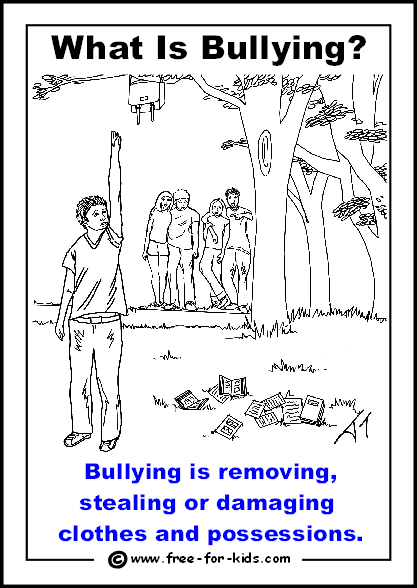 Preview of free printable anti-bullying colouring page - taking possessions
