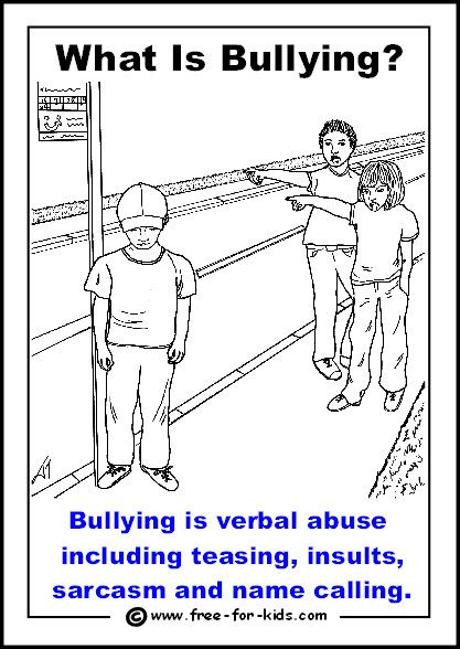 Preview of free printable anti-bullying colouring page - verbal abuse