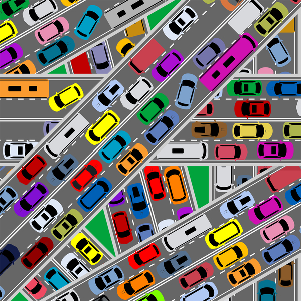 Image of city roads jammed with traffic