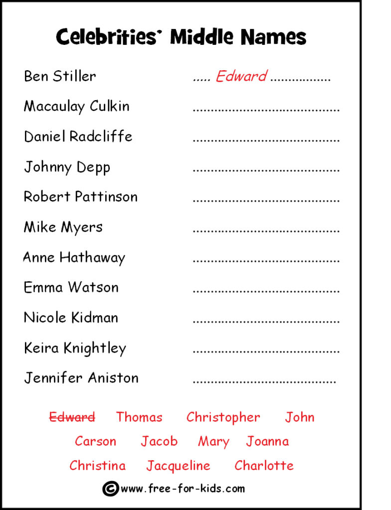 Preview of Printable Celebrity Quiz Sheet - Middle Names