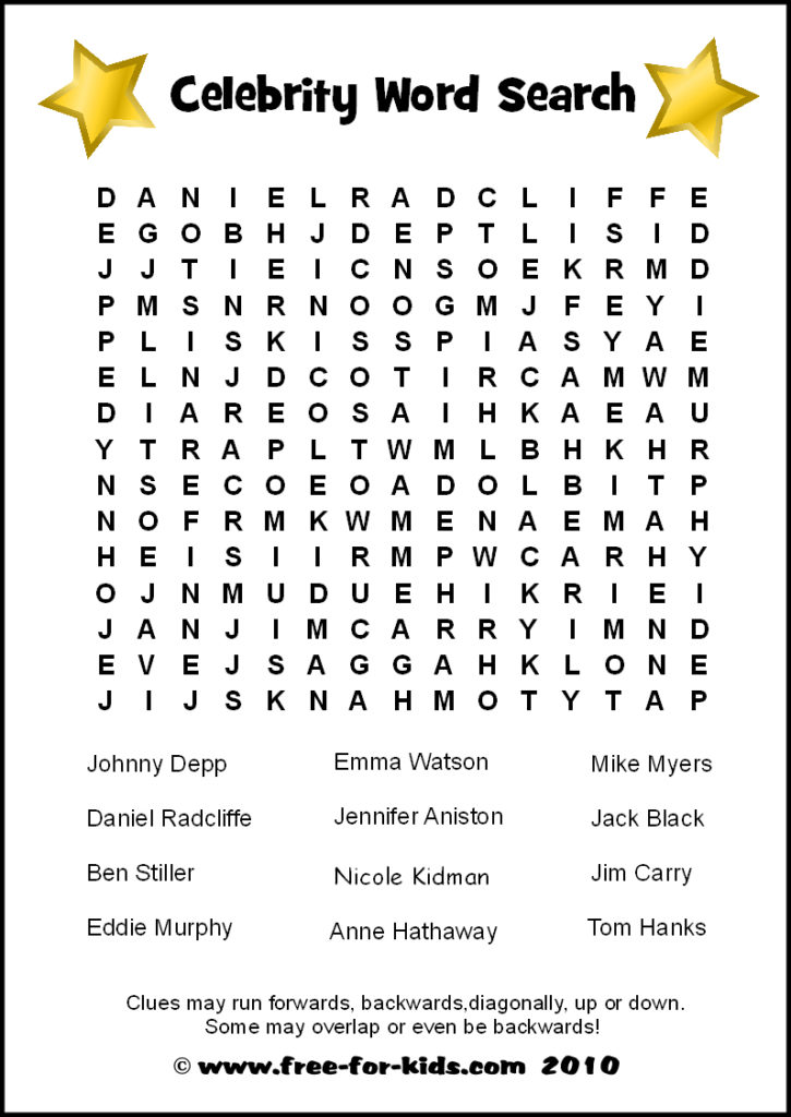 Preview of Printable Celebrity Quiz Sheet - Word Search