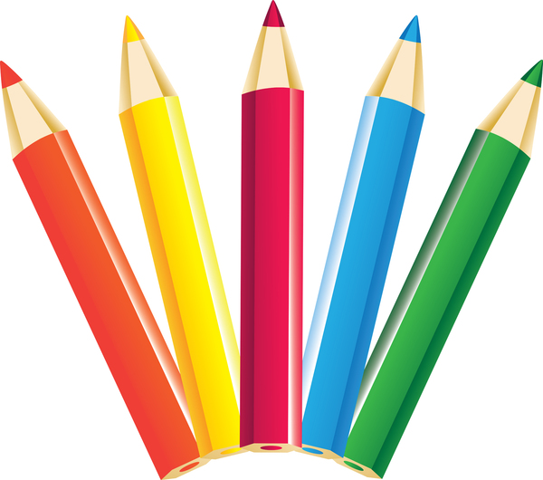 Five coloured pencils orange yellow red blue and green