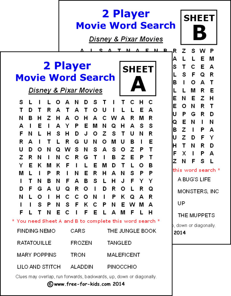 Preview of printable two player wordsearch - Disney and Pixar Movies
