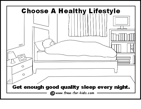 Preview of free healthy lifestyle colouring page - get enough sleep