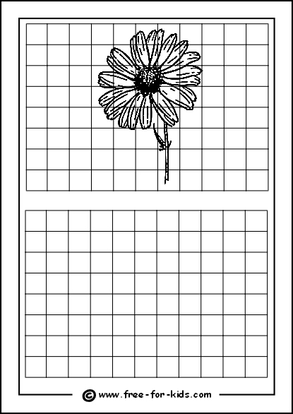 Preview of Printable Drawing Grid Practice Sheet with Flower