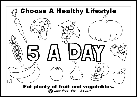 Preview of free healthy lifestyle colouring page - 5 portions of fruit and vegetables per day