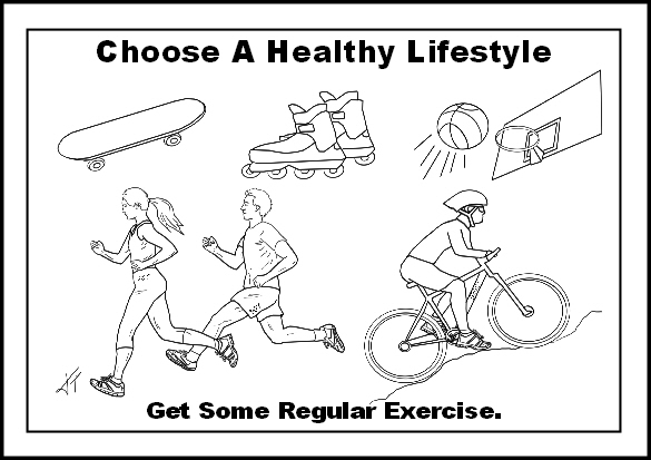 Preview of free healthy lifestyle colouring page - get regular exercise