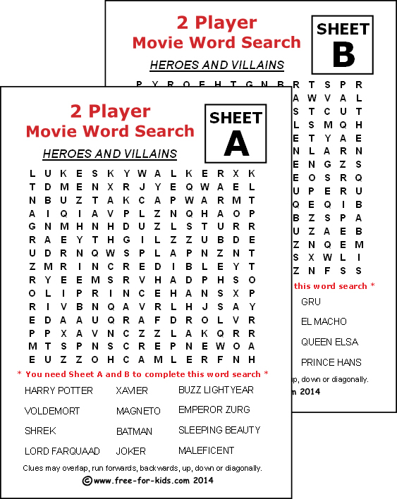 Preview of printable two player wordsearch - movie heroes and villains