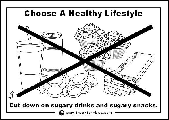 Preview of free healthy lifestyle colouring page - cut down on sugary drinks and snacks