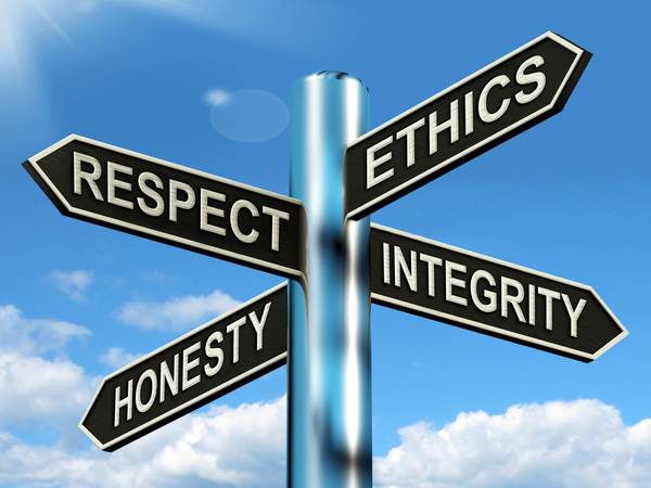 signpost for morals ethics respect honesty