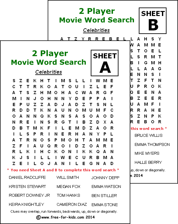 Preview of printable two player wordsearch - Movie Celebrities