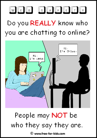 Preview of Free to Print Web Safety Poster - do you know who you are chatting to online