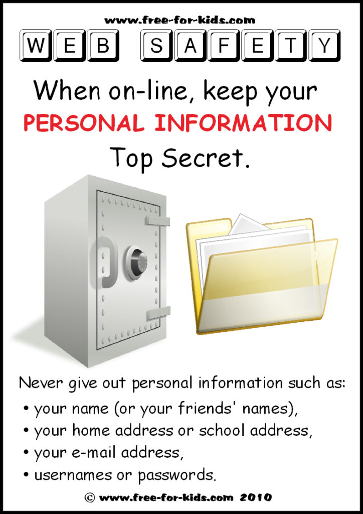 Preview of Free to Print Web Safety Poster - keep personal information private