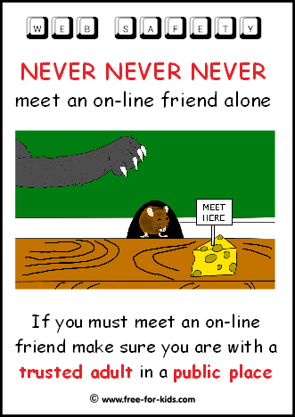 Preview of Free to Print Web Safety Poster - meeting online friends