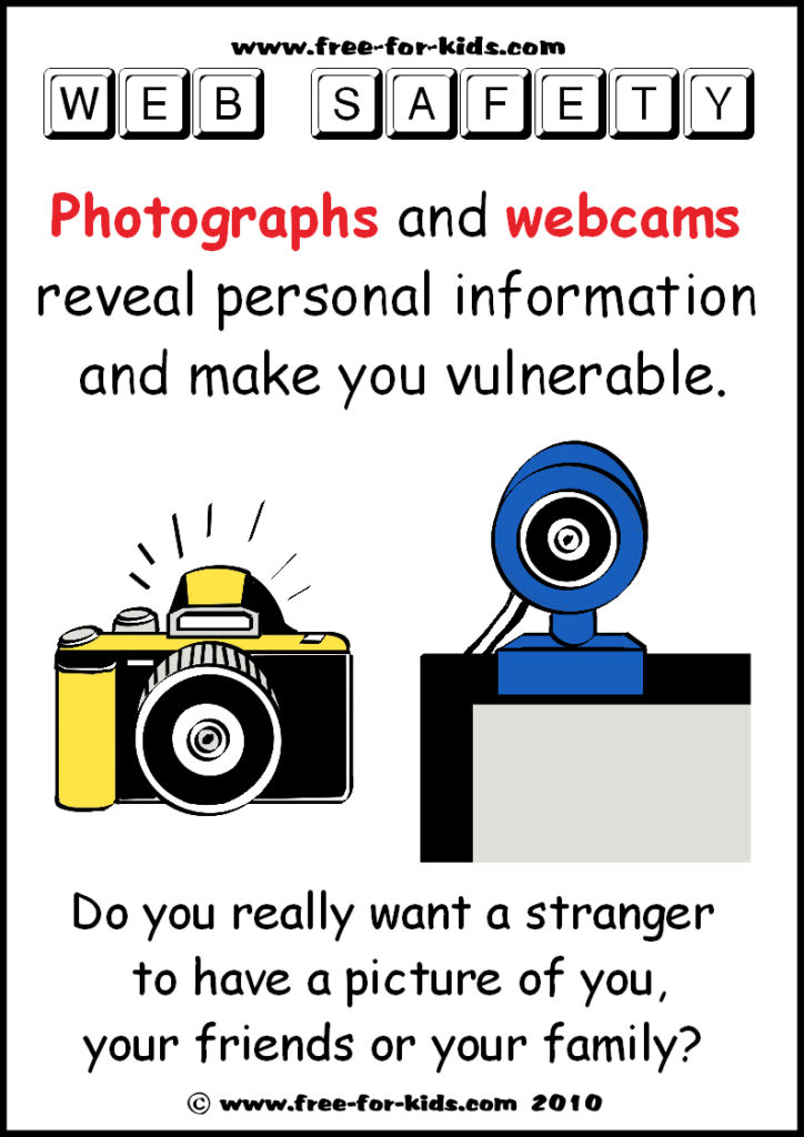 Preview of Free to Print Web Safety Poster - dont share personal photos
