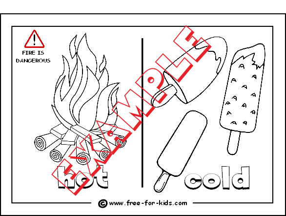 Preview of Opposites Hot and Cold Colouring Sheet