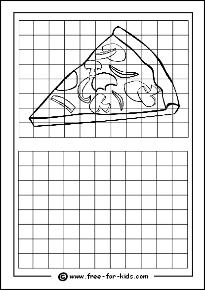 Preview of Printable Drawing Grid Practice Sheet with Slice of Pizza
