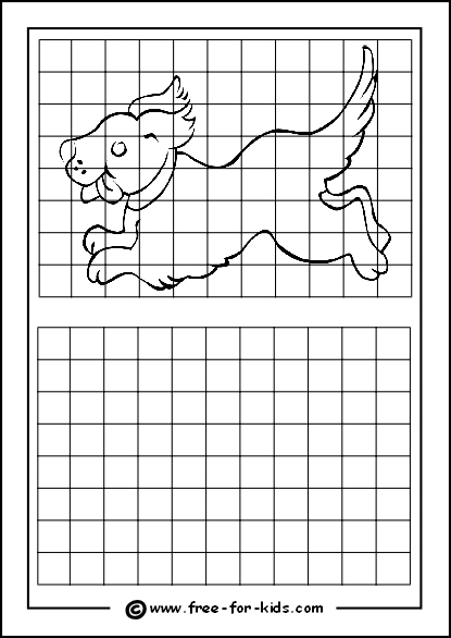 Preview of Printable Drawing Grid Practice Sheet with Dog Running