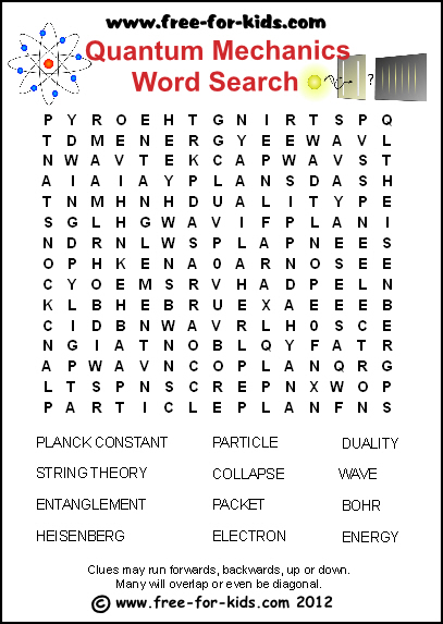Preview Image of Free Printable Quantum Mechanics Wordsearch Sheet