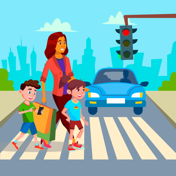 Mother helping children cross the road safely