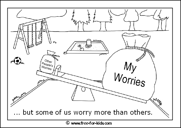 Preview of printable anxiety colouring worksheet showing some worry more than others