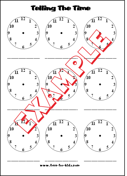 Preview of blank telling the time worksheet