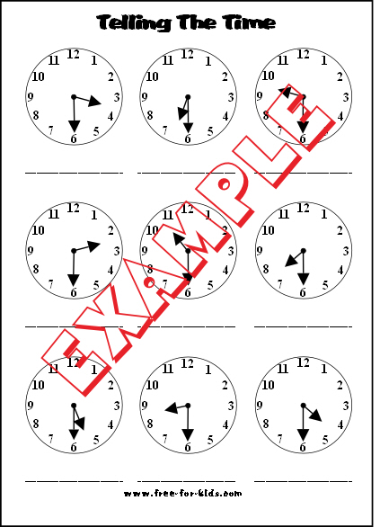 Preview of blank telling the time worksheet half past the hour
