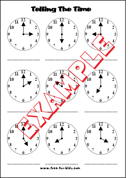 Preview of blank telling the time worksheet whole hours