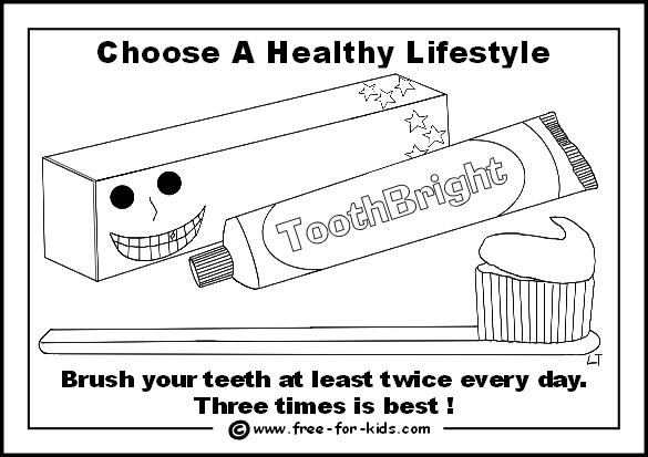 Preview of free healthy lifestyle colouring page - brush your teeth regularly