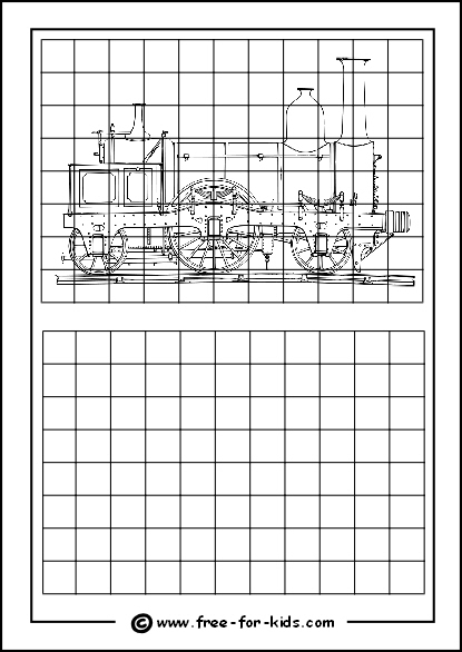 Preview of Printable Drawing Grid Practice Sheet with SteamTrain Outline
