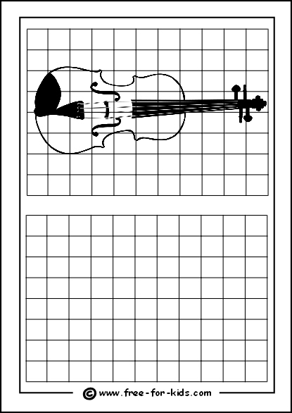 Preview of Printable Drawing Grid Practice Sheet with Violin