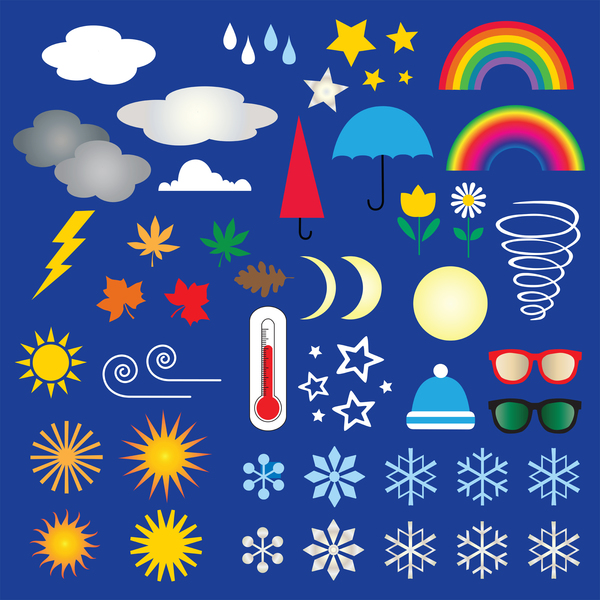 weather symbols including rainbows, snowflakes and clouds
