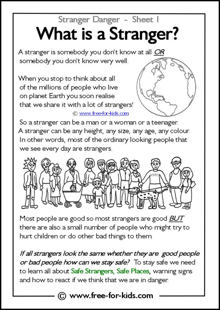 Preview of Printable Stranger Danger Worksheet - what is a stranger?