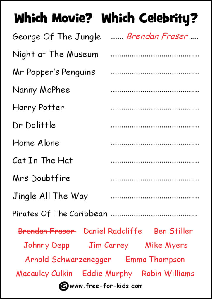 Preview of Printable Celebrity Quiz Sheet - Match the Movie