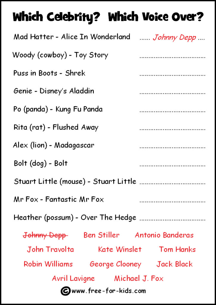 Preview of Printable Celebrity Quiz Sheet - Voiceover Work