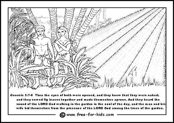 free printable colouring page of adam and eve ashamed