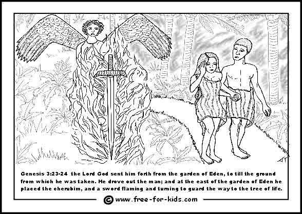free printable colouring page of adam and eve being expelled from the garden of eden