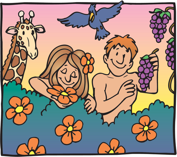 adam and eve looking happy picking fruit in the garden of eden