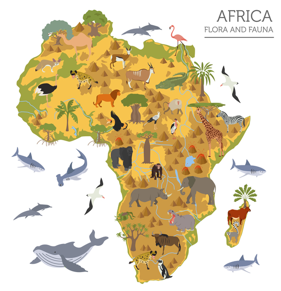 continent map of africa showing flora and fauna