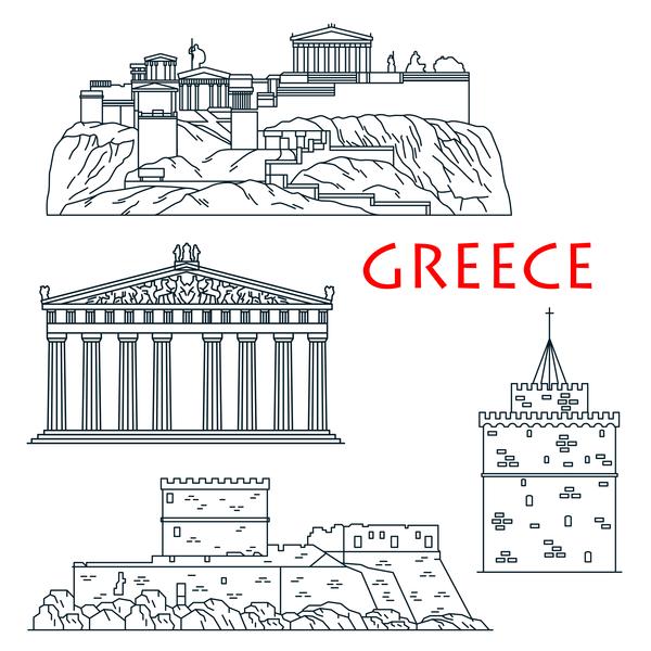 Ancient travel landmarks of Greece