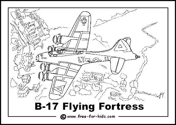 Free printable colouring page of a World War 2 B17 Flying Fortress
