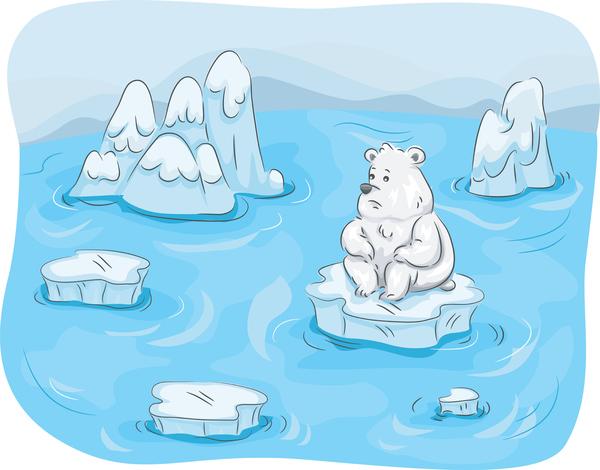cartoon polar bear sitting on melting ice