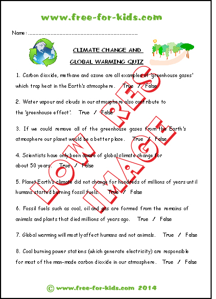preview of printable global warming climate change quiz sheet