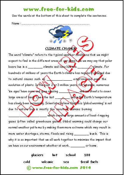 preview of printable climate change worksheet
