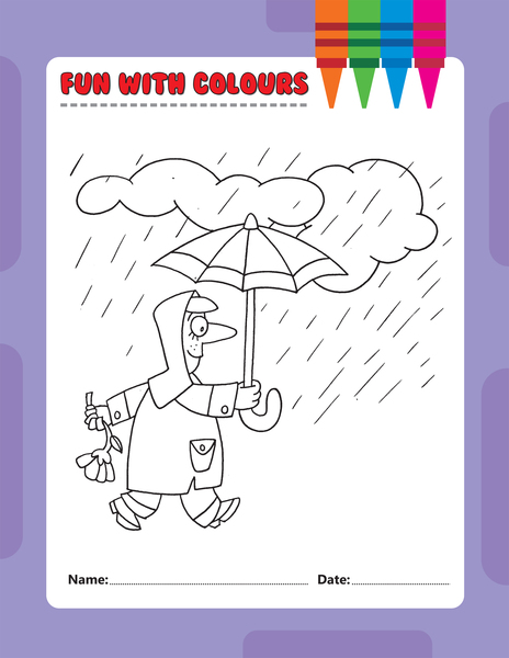 Example image of a weather colouring page