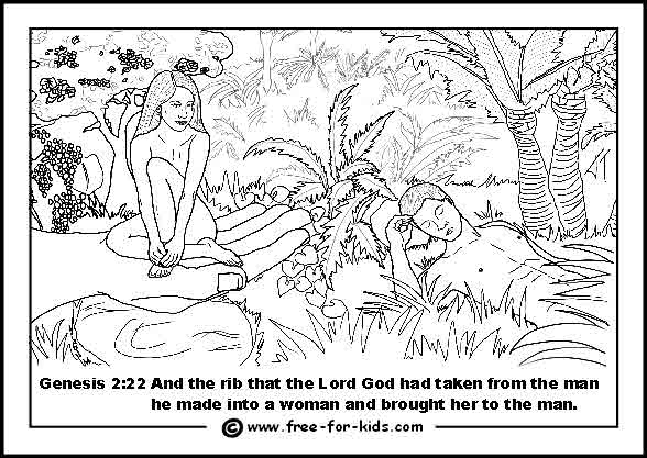free printable colouring page of God creating Eve in the Garden of Eden