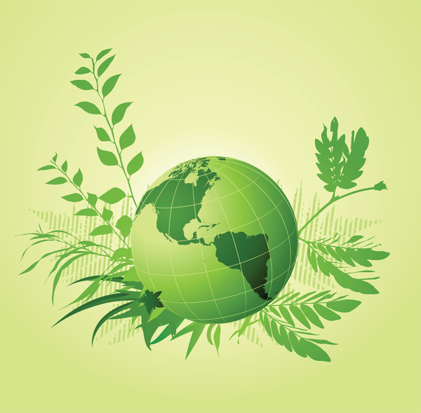 green planet earth surrounded by plants and leaves